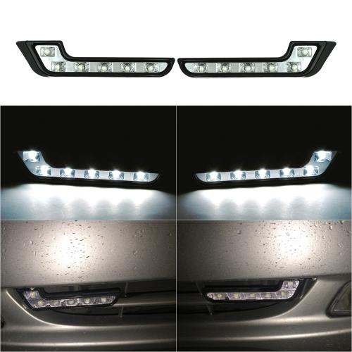 2PCS Daytime Running Light Bright 6 LED L Type Super White DRL 12V Car Front Fog Driving Lamp