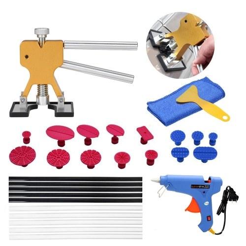 Herramienta de reparación de abolladuras sin pintura Herramienta de reparación de eliminación de abolladuras sin pintura Dent Lifter Pegamento Tab Hail Glue Gun Tools 29 unids enchufe de EE.UU.