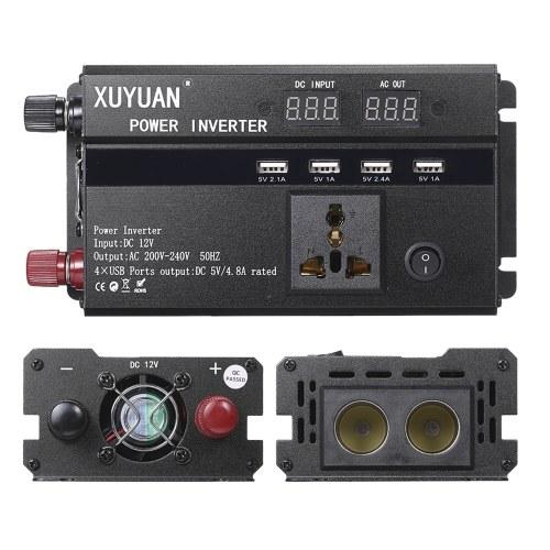Автомобильный инвертор 3000 Вт, 12 В, 220 В, 50 Гц, инвертор постоянного тока в переменный, двойной светодиодный дисплей, модифицированный синусоидальный преобразователь напряжения, преобразователь напряжения