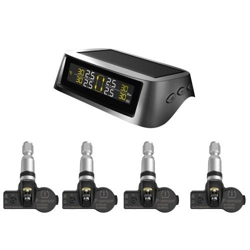 Sistema de monitoramento de pressão dos pneus TPMS Sistema de detecção de carga sem fio solar e USB com 4 sensores internos