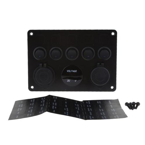 12V/24V Inline Fuse Box LED Rocker Switch Panel 5 Gang Marine Boat Rocker Switch Panel