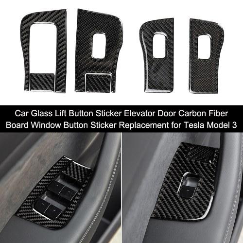 Etiqueta engomada del botón de elevación de vidrio del coche Puerta del ascensor Tablero de fibra de carbono Etiqueta de botón de ventana Reemplazo para Tesla Modelo 3