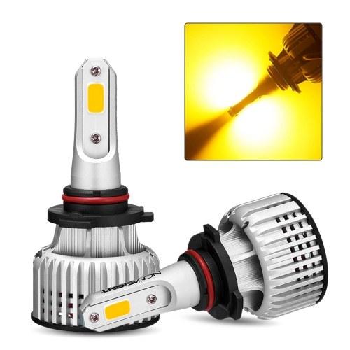 NOVSIGHT 9005 Car LED IP68 Waterproof Headlight Bulb 3000K Yellow Running Light 10000LM/Pair 72W/Pair Headlight Bulbs