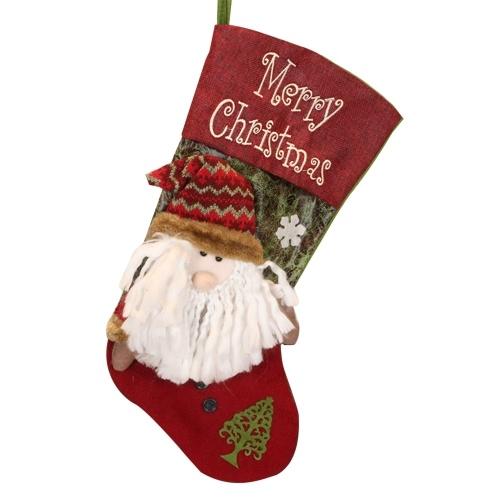 Calcetín navideño Calcetín navideño clásico Personaje navideño 3D de felpa con puño de piel sintética