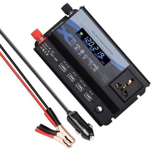 Inversor de corriente de 360 W Convertidor de 12 V CC a 220 V CA para automóvil con pantalla LCD y luz LED 4 puertos USB Puertos de cargador de automóvil para teléfonos inteligentes Computadoras portátiles Tabletas