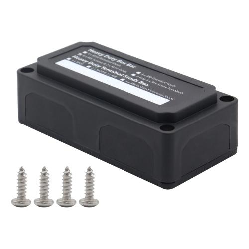 Bloque de distribución de energía Caja de barra de bus de servicio pesado con 3 / 8in M10 * 2 Pernos de terminal 3 / 16in M5 * 6 Tornillos 48V 300A Bloque de conexiones de batería de poste para automóvil RV Camión Barco marino