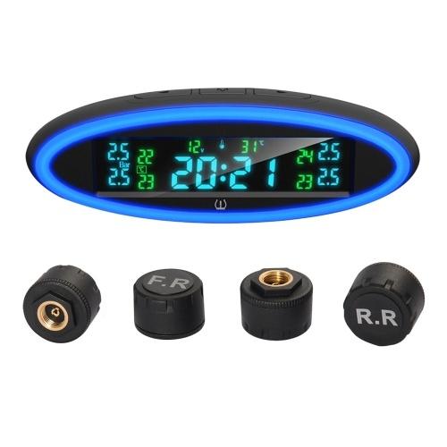 Sistema de monitoreo de presión de llantas con lámpara de alerta de atmósfera, pantalla LCD en tiempo real, alertas de presión y temperatura (parámetros del sensor externo)