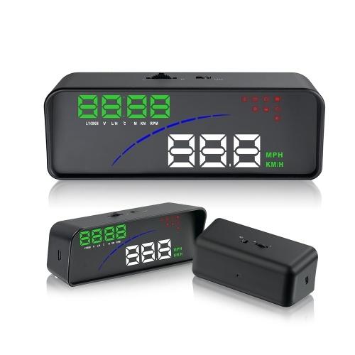 Автомобиль P9 HUD Head Up Display OBD Smart Digital Meter 2 Display Way Предупреждение о превышении скорости Сигнализация Температура воды Напряжение Совместимость с системой OBDII EOBD Модель автомобилей