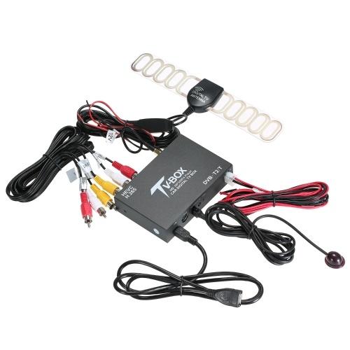 Автомобильный ТВ-сигнал DVB-T / T2 Автомобильный мобильный цифровой ТВ-бокс Приемник ТВ-тюнер HEVC H.265