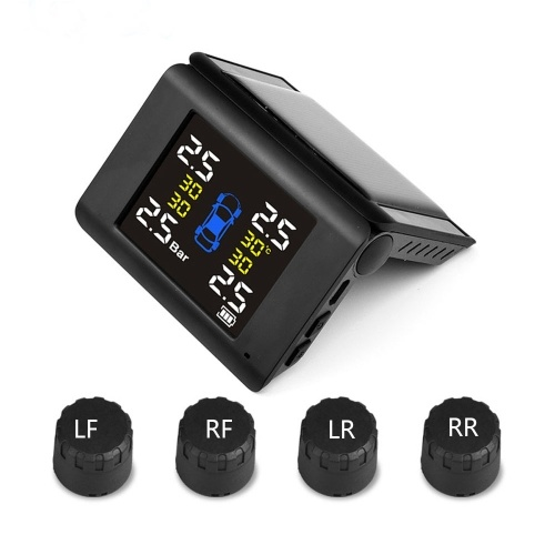 Solar Wireless Tire Pressure Monitor TPMS Tire Pressure Detector Car Tyre Monitoring System with 4 External Sensors