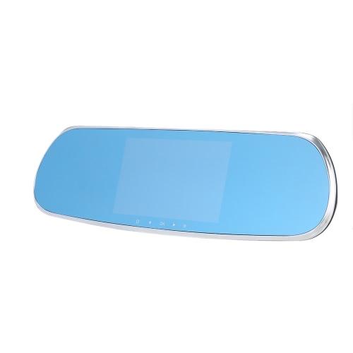 "5"" 1080p Android sistema inteligente construido en GPS navegación WIFI espejo retrovisor doble lente coche cámara registrador del coche DVR con mapa gratis"