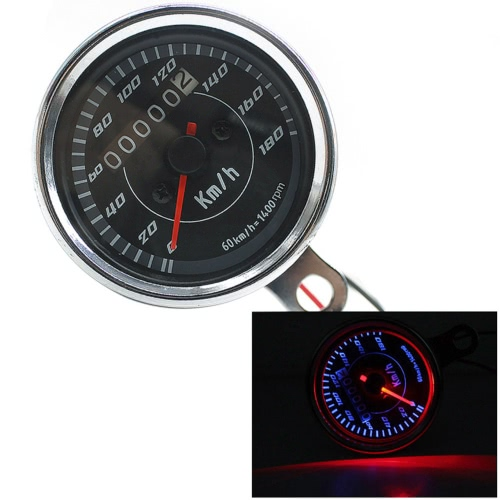 12V Universal Motorcycle Odometer Km/h Speedometer Tachometer with LED Backlight
