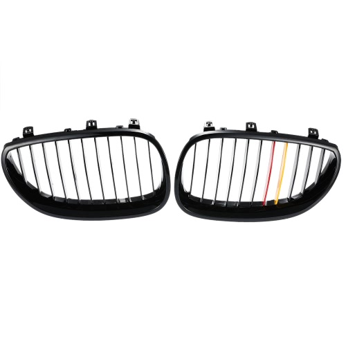 One Pair Front Center Wide Kidney Hood Grilles Gloss Black with Red Yellow Color Decoration Grill for BMW E60/E61 2003-2009