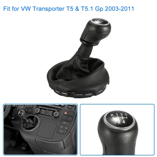 6 Speed Gear Shift Knob Gearstick Gaiter Boot Replacement Kit for VW Transporter T5 & T5.1 Gp 2003-2011
