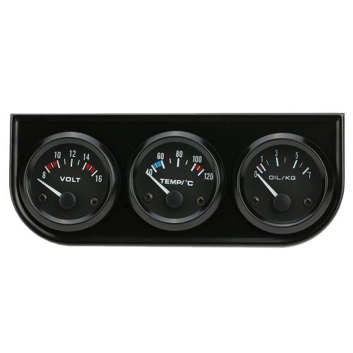 52mm Electronic Triple Juego de Indicador de presión del aceite del agua Medidor de temperatura del voltímetro 3 en 1 coche Medidor de motos