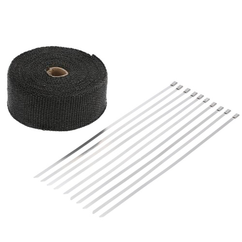 15m Exhaust Heat Wrap Turbo Pipe Heat Insulated Wrap 10 30cm Cable Ties for Car Motorcycle