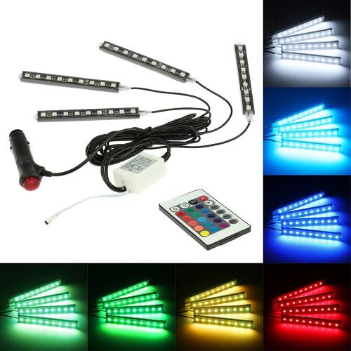 4 em 1 remoto sem fios Interior Controle Atmosfera Light Bar Car Piso traço LED Decoração Lamp Kit 12V