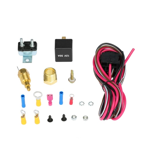 Electric Cooling Fan Wiring Install Kit Complete Thermostat 200/185 Degree