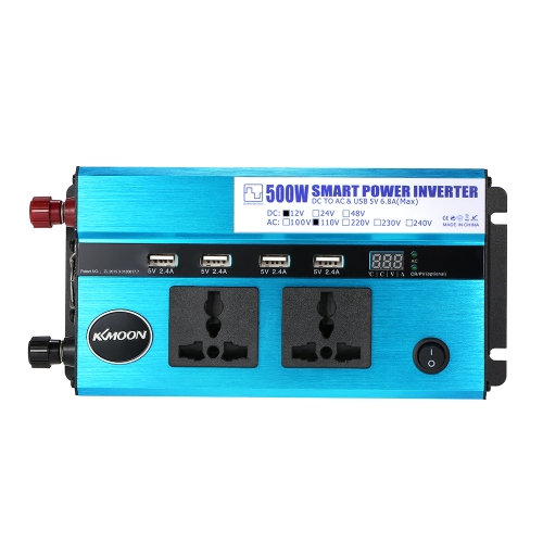 KKmoon 500W Car Power Inverter DC 12V to AC 110V 60Hz with 4 USB Ports / Voltage Display