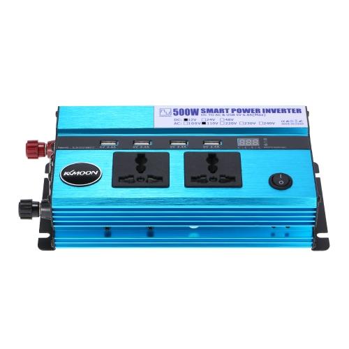KKmoon 500W Автомобильный инвертор питания DC 12V до AC 110V 60Hz с 4 портами USB / дисплеем напряжения