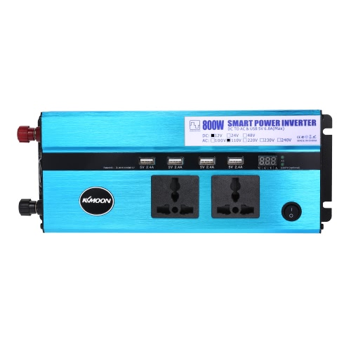 KKmoon 800W Car Power Inverter DC 12V to AC 110V 60Hz with 4 USB Ports / 2 AC Outlets / Voltage Display