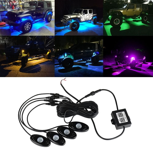 Luces de la roca de 4pcs 12V RGB LED para el jeep del camión de SUV del camino
