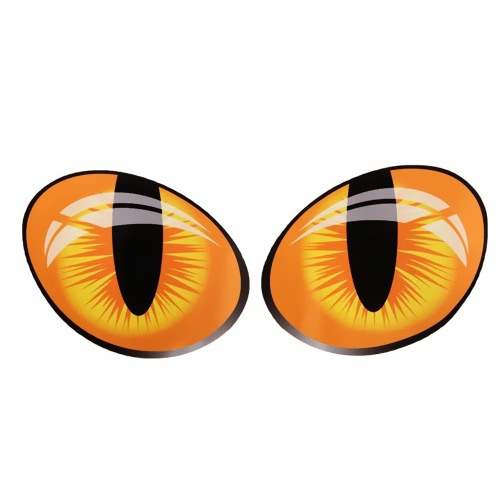 2Pcs 3D Funny Cat Eyes Car Sticker Cute Simulation Reflective Auto Decal Rearview Mirror Window Cover Decoration Exterior Accessories  (10*8CM)