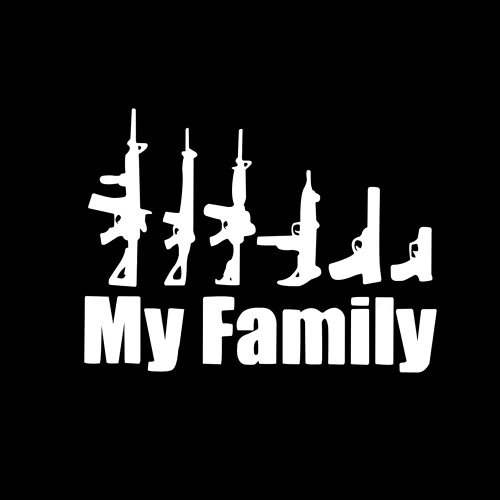 My Family Cool Gun Pattern Car Waterproof Sticker Mechanic Outdoor Window Reflective Sheeting 3D Windshield Decal Rear Styling Auto Vehicle Exterior Decoration Cover Accessories