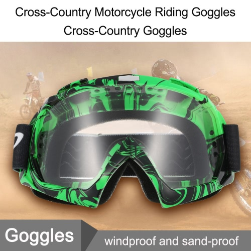 Cross-Country Motorcycle Riding Goggles Cross-Country Goggles Game Motorcycle True Semi-Permeable Membrane Cycling Glasses Green and transparent lenses
