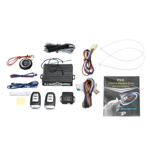Versão Universal Smart Key PKE Passive Keyless Entry Sistema de alarme do carro botão de partida do motor Remote Engine Start Remote Abra e feche as janelas do carro