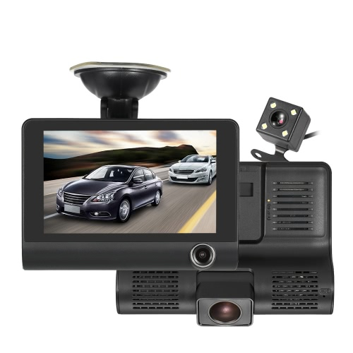 "KKMOON 4 ""1080P Três Lens Car DVR Dash Cam Camera Camcorder Night Vision"