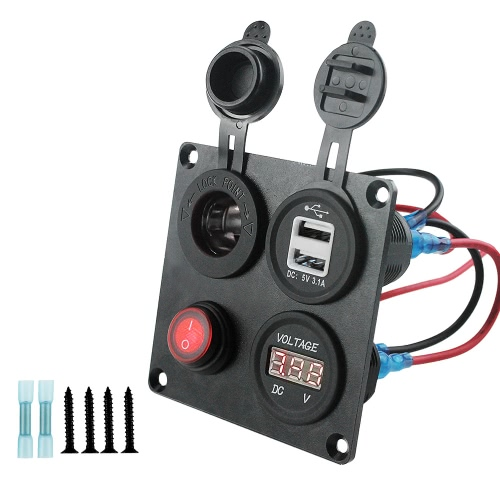 4 in 1 Charger Socket Panel, Dual USB Socket Charger 4.2A  Red LED Voltmeter 12V-24V Power Outlet Button Switch, Four Functions Panel For Car Boat Marine RV Truck Camper Vehicles