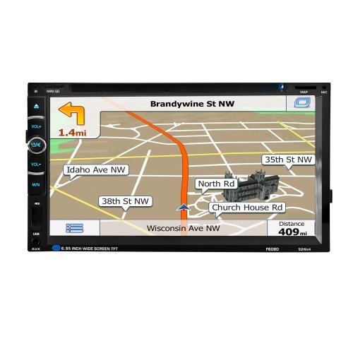 2 Din 6.95 '' polegadas Digital Touch Screen Car Audio de rádio com navegação GPS Controle remoto Multimedia Video DVD Player BT Hands Free Rear View Camera