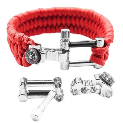 Multifonction Ouvre-Boussole Réglable Scraper Feu Starter Survie Kit Bracelet