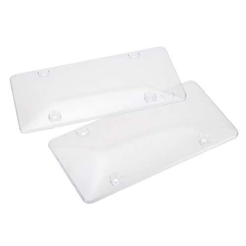 2pc License Plate Frames Convex Surface Cover Shield for US Canada Car