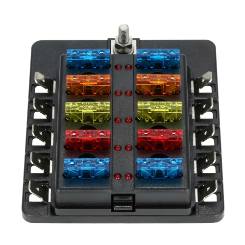 10 Way Blade Fuse Box with LED Indicator Fuse Block for Car Boat Marine Caravan + 20 Fuses