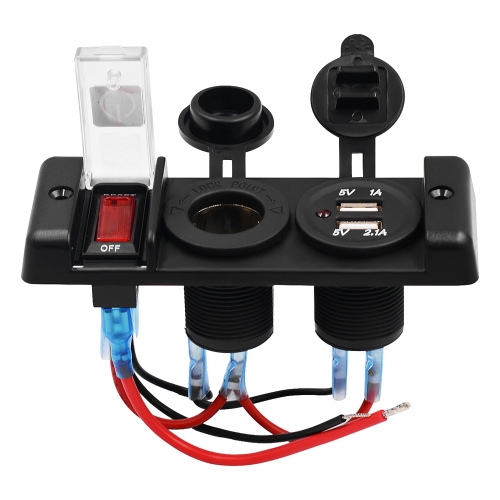 NEW Aluminum 5PIN 3 Gang Rocker Switch Panel + 12V Cigarette Socket + Dual USB Charger with Red LED light Indicator for Boat Marine/Car