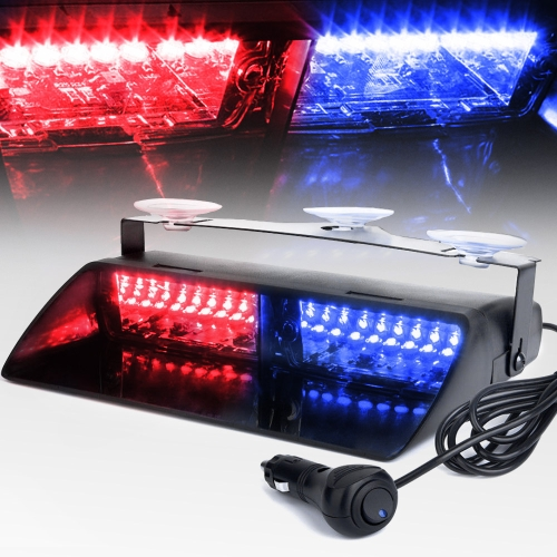 KKmoon 16LEDs 18 Flashing Modes Car Truck Emergency Flash Dash Strobe Light red and blue