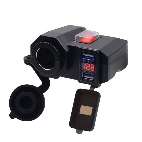 Impermeable USB de carga del zócalo de la motocicleta Manillar Abrazadera Adaptador de corriente USB Sistema de carga