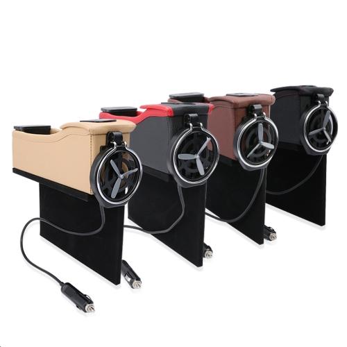 Double USB Port Multifonction En Cuir Catcher Boîte Siège De Voiture Tasse Bobine De Stockage De Poche Organisateur
