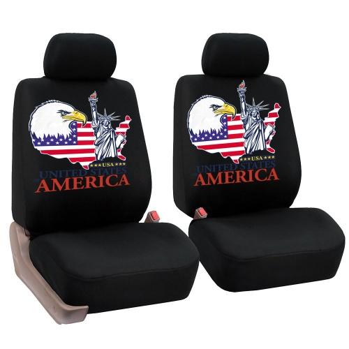 1 par cubierta delantera del asiento de coche protector cubierta acogedora con la estatua de la impresión del patrón de la libertad automotriz interior accesorios ajuste universal