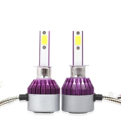 C6ユニバーサル車LEDヘッドライト紫自動修正変換ランプキットCOB電球ランプ6500K白色光