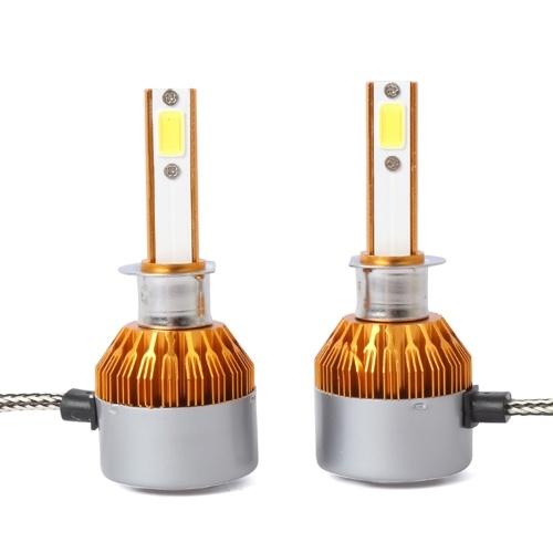 C6 Universal Automobile Headlight Gold Modified Lamp Kit Car LED Conversion COB Bulbs Lamps 6500K White Light