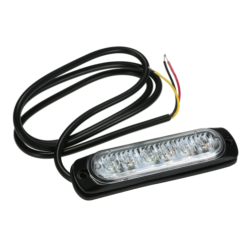 Car Emergency Light Bars 6 LED Waterproof Emergency Beacon Flash Caution Strobe Light Bar Car SUV Pickup Truck Van White Yellow Light