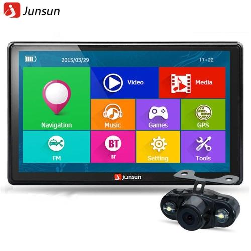 JS-D100S Multifunción BT Car Multi-media Player navegación con cámara de visión trasera y mapas gratis de América del Norte