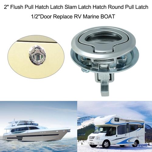"2"" Flush Pull Hatch Latch Slam Latch Hatch Round Pull Latch 1/2''Door Replace RV Marine BOAT"