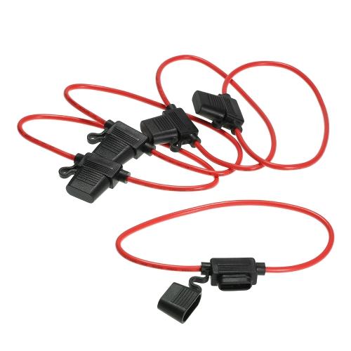 5 szt. 12V Średni uchwyt bezpiecznika Inline Wire Copper 12 AWG 35A Power Blade for Car Bike