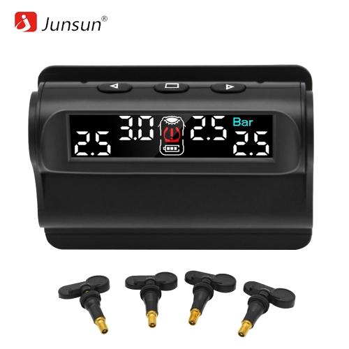 Junsun TM101.NT Samochodowy system monitorowania ciśnienia w oponach TPMS Solar Charging Cyfrowy wyświetlacz LCD Autoalarm z wbudowanym czujnikiem
