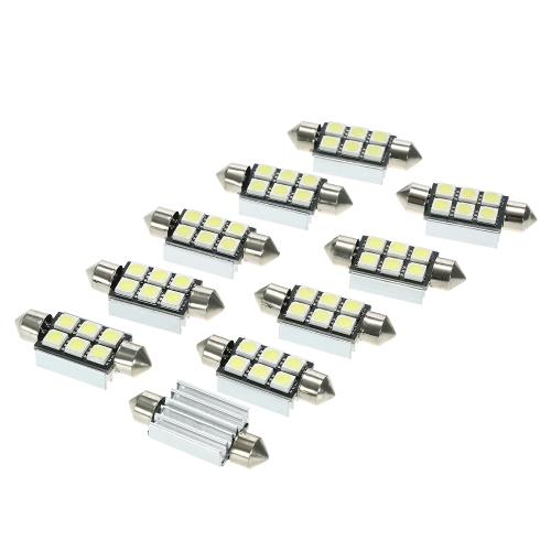 10 Sztuk 6/8 SMD 5050 Samochodów LED Światła 12 V Biała Kopuła Festoon CANBUS Auto Wnętrze Dome Drzwi Światło Lampy Żarówki