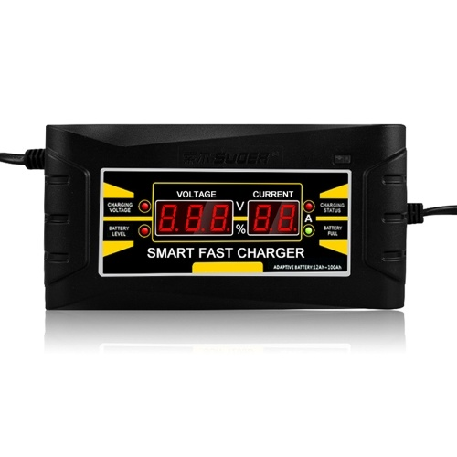 Полное автоматическое зарядное устройство для автомобиля 110V / 220V до 12V 6A 10ASmart Быстрая зарядка питания для влажной сухой свинцовой кислоты Цифровой ЖК-дисплей EU Plug